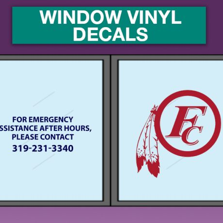 1 color WINDOW VINYL DECAL